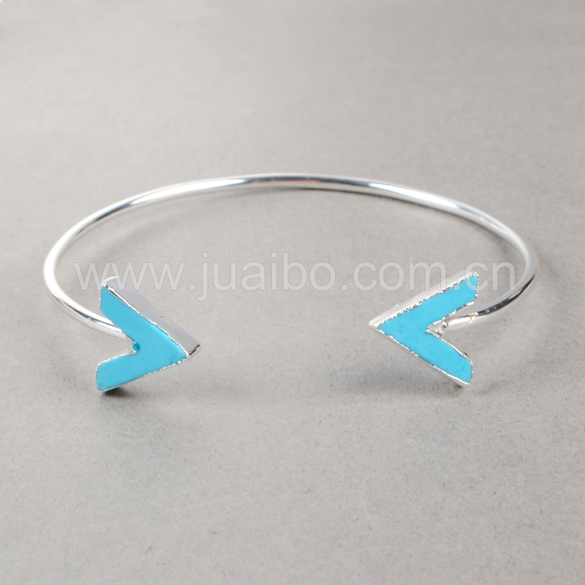 Natural Turquoise Cuff Bangle , Silver Marble Beads Bullet Cuff Bracelet