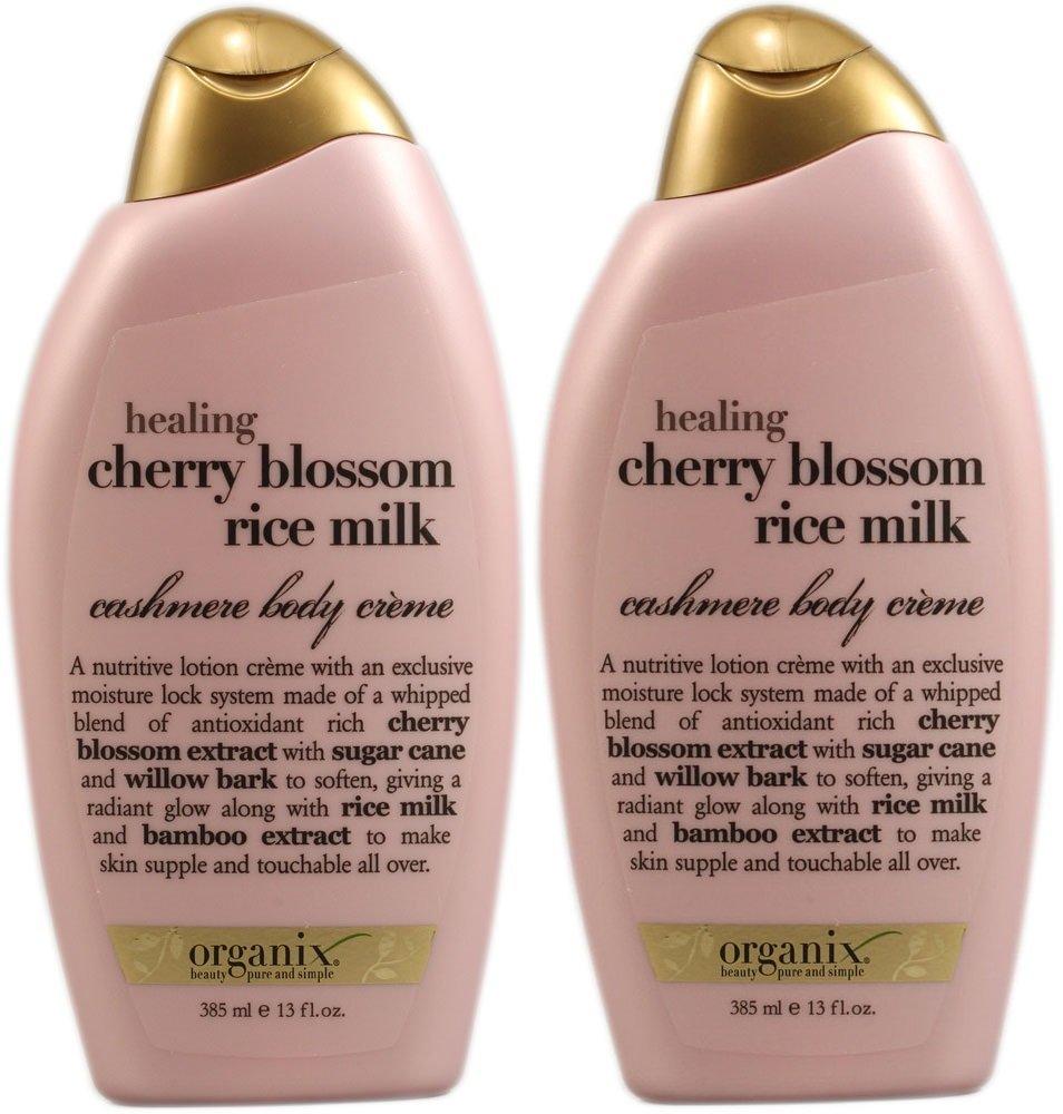Organix Cashmere Body Lotion Creme - Healing Cherry Blossom Rice Milk - Net Wt. 13 FL OZ (385 mL) Each - Pack of 2