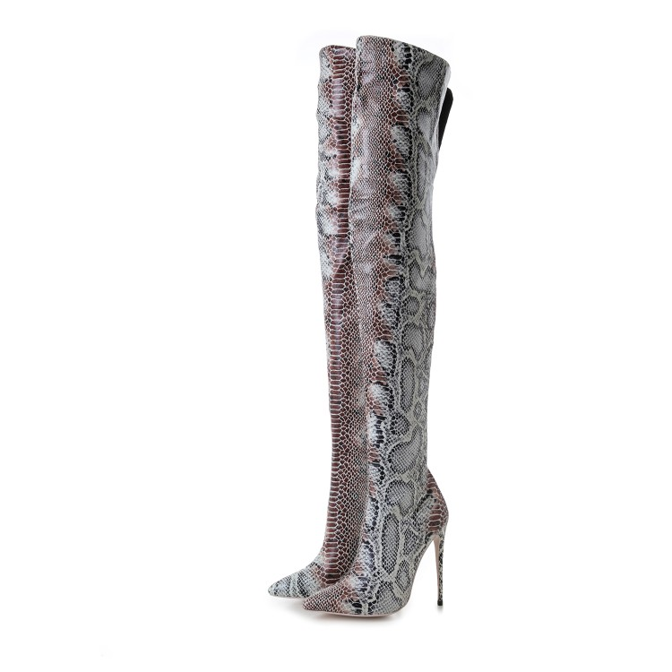 Women's Wholesale Cheap Price Warm Winter Snow Thigh High PU Leather High Heel Boots