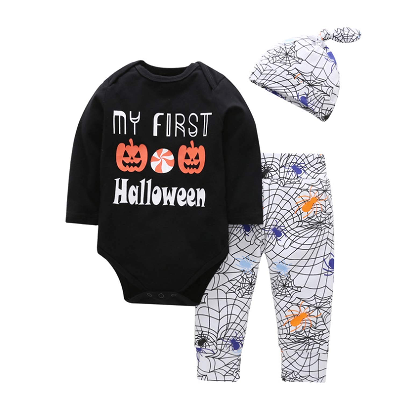 3Pcs Baby Boys Pumpkin Outfit Halloween Sets Letter Print Romper Cobweb Pants Clothing