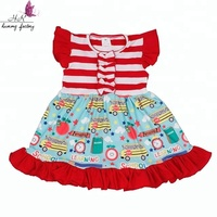 Wholesale Toddler Girl Back To School Dress Stripe top and bus printing skirt Baby Clothing Flutter Sleeves Kids Frocks