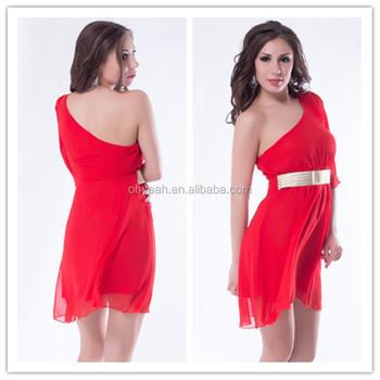 Ready Stocklot Chiffon Style One Shoulder Dress With Belt Plus Size