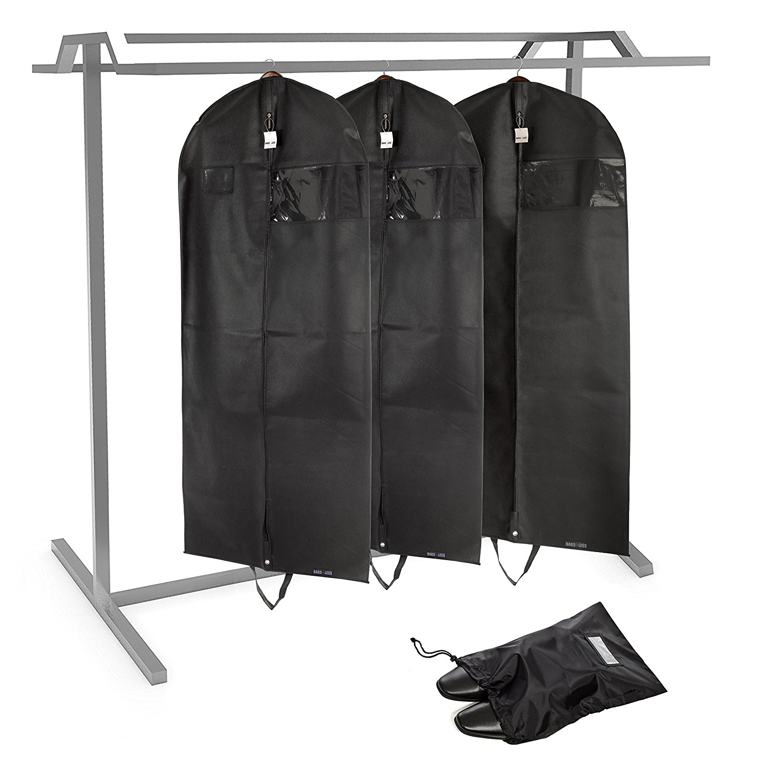 """[SET OF 3]Bag For Less PREMUIM QUALITY Black Breathable Garment Bag+ Shoe Bag. Travel And Storage 26""""x60""""x5"""" Zipper & Metal Eyehole And Carry Handles For Folding For Suits, Tuxedos, Dresses"""
