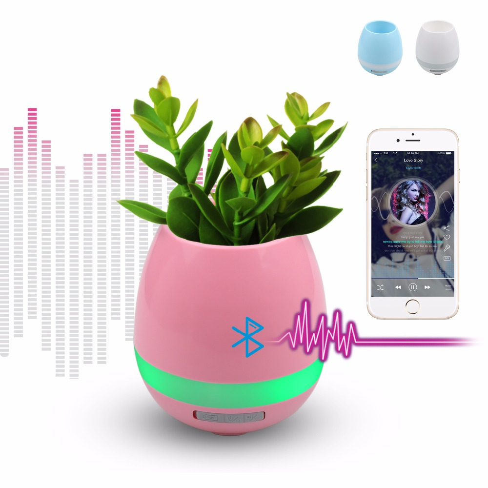 Smart Bluetooth Speaker Touch Piano Music Playing Rechargeable Wireless Flower Pots with Night Light for Office Home Decor