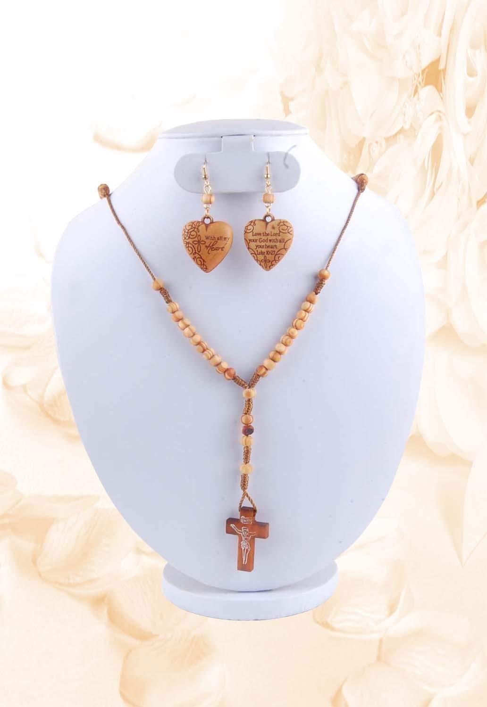 Krishna Handmade Indian Lord Jesus Holy Prayer Bead Chain with Earrings [KPR-Prayer Chain B20]