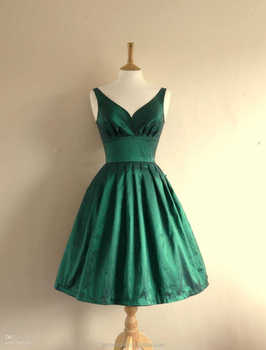 A Line V Neck Emerald Green Taffeta Short Dresses Party Dresses Homecoming Dresses K24