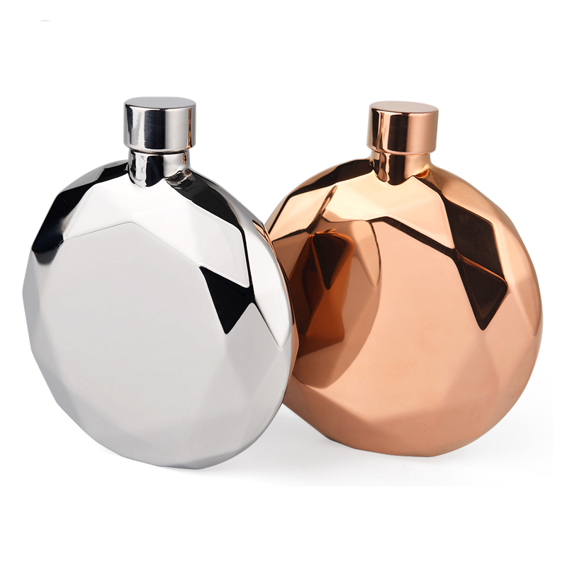 High quality Stainless Steel Diamond Shape Hip Flask with Crystal Lid