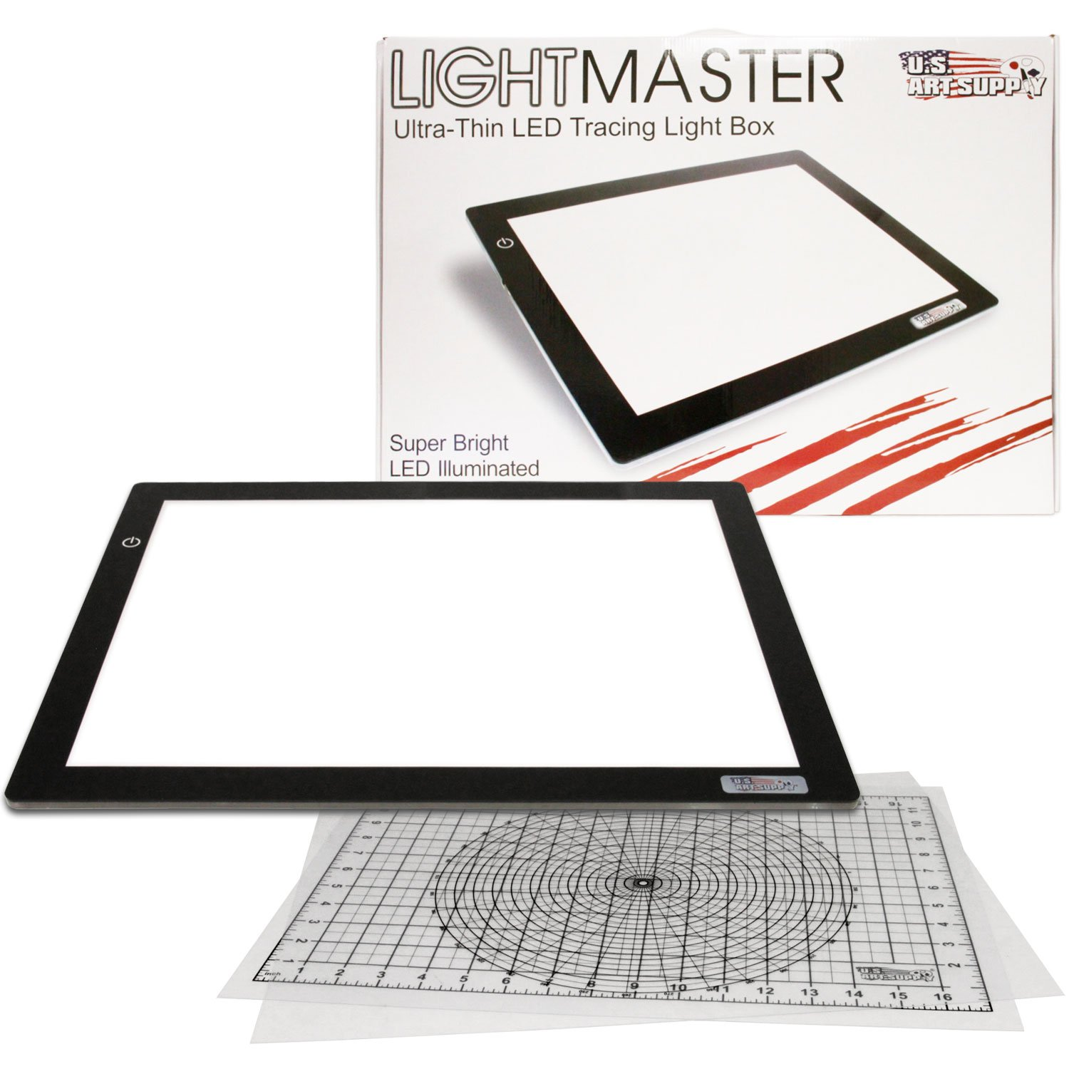 "US ART SUPPLY Lightmaster Large 24.3"" Diagonal Professional (A3) 12""x17"" LED Lightbox Board- 12-Volt Super-Bright Ultra-Thin 3/8"" Profile Light Box Pad with 110V AC Power Adapter & Dimmable LED Lamps. Now Includes for FREE: 1 Measuring Overlay Grid & 1 Circle Template/Protractor 1-Year Warranty"