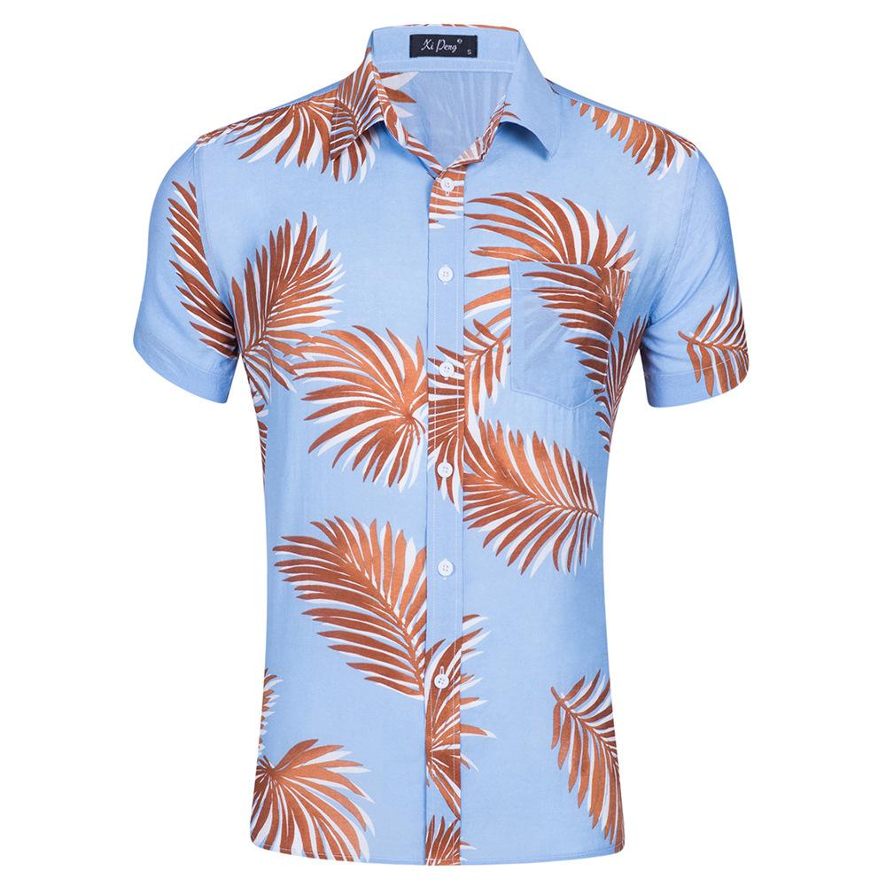 Alibaba.com / 2019 New Summer Mens Short Sleeve Beach Hawaiian Shirts Cotton Casual Floral Shirts Regular Plus Size 3XL Mens clothing Fashion