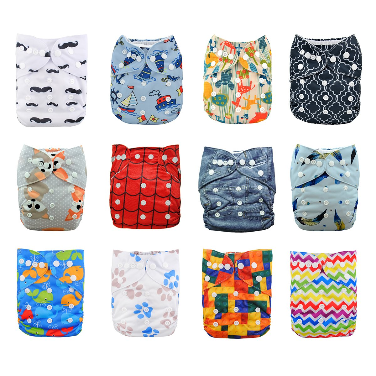 Babygoal Baby Cloth Diapers,One Size Adjustable Reusable Pocket 12pcs Diapers+12pcs Microfiber Inserts+Wet Bag+4pcs Baby Wipes+1pc Swim Diaper 12fn46-1