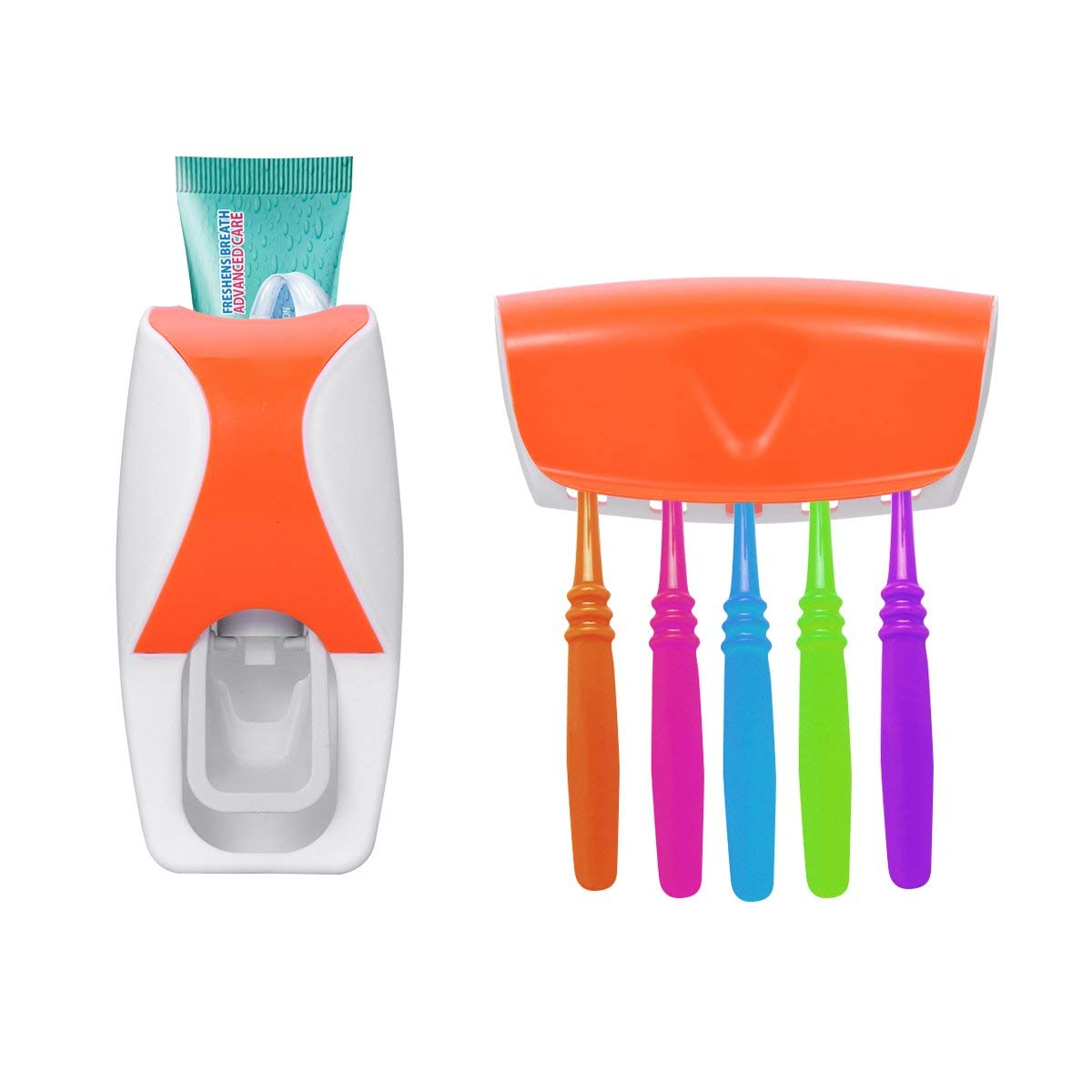 OUNONA Toothbrush Holder Automatic Toothpaste Dispenser Set Toothpaste Squeezer With Brush Holder Set for Bathroom Use(Orange)