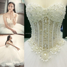 Real Photo Ball Gown Wedding Dress Vestidos de Noiva Sweetheart Heavily Beading Pearls Bridal Dress Robe de Mariage Wedding Gown