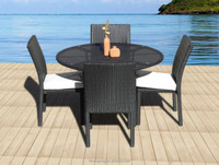 Outdoor 5-Piece Wicker All Weather Round Dining Table & Chair Set