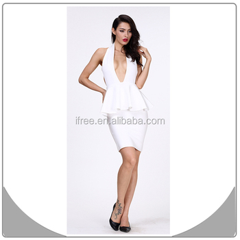 High Fashion White Backless Dress Evening Cocktail Dress Plus Size