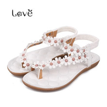 Thong gladiator Shoes Flip-flop Flats sandals flip women's sandals flat flats bohemia flower beaded soft outsole sweet LD10