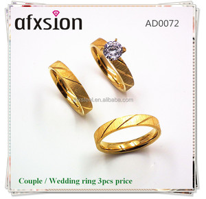 AFXSION jewelry Wholesale 3 Pcs Set Hot Sale 316L Stainless Steel Zircon rings Gold Plated Wedding Couple Rings For