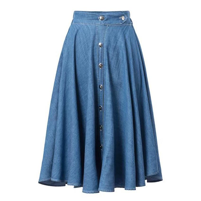 5ef417cff5 Get Quotations · Trendy Summer Street Vintage Women Metal Button Denim Long  Midi Pleated Swing Elastic High Waist Skirt