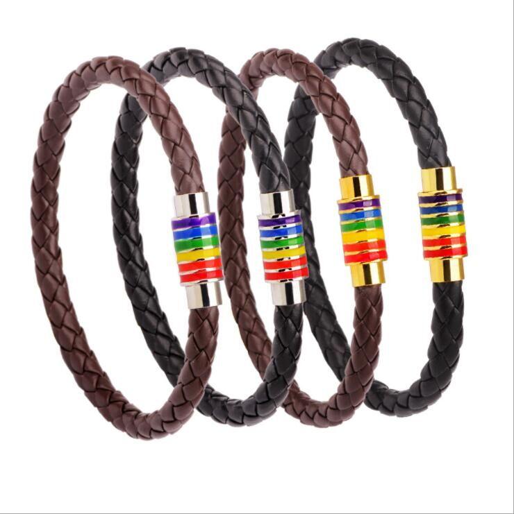 2019 vintage style cowhide leather magnetic buckle LGBT rainbow gay pride bracelet фото