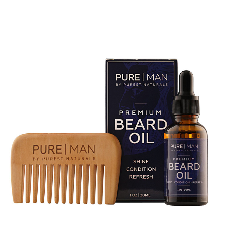 Men's beard care product set Presented Wooden comb 100% Pure Natural Unscented Beard balm Beard <strong>Oil</strong>