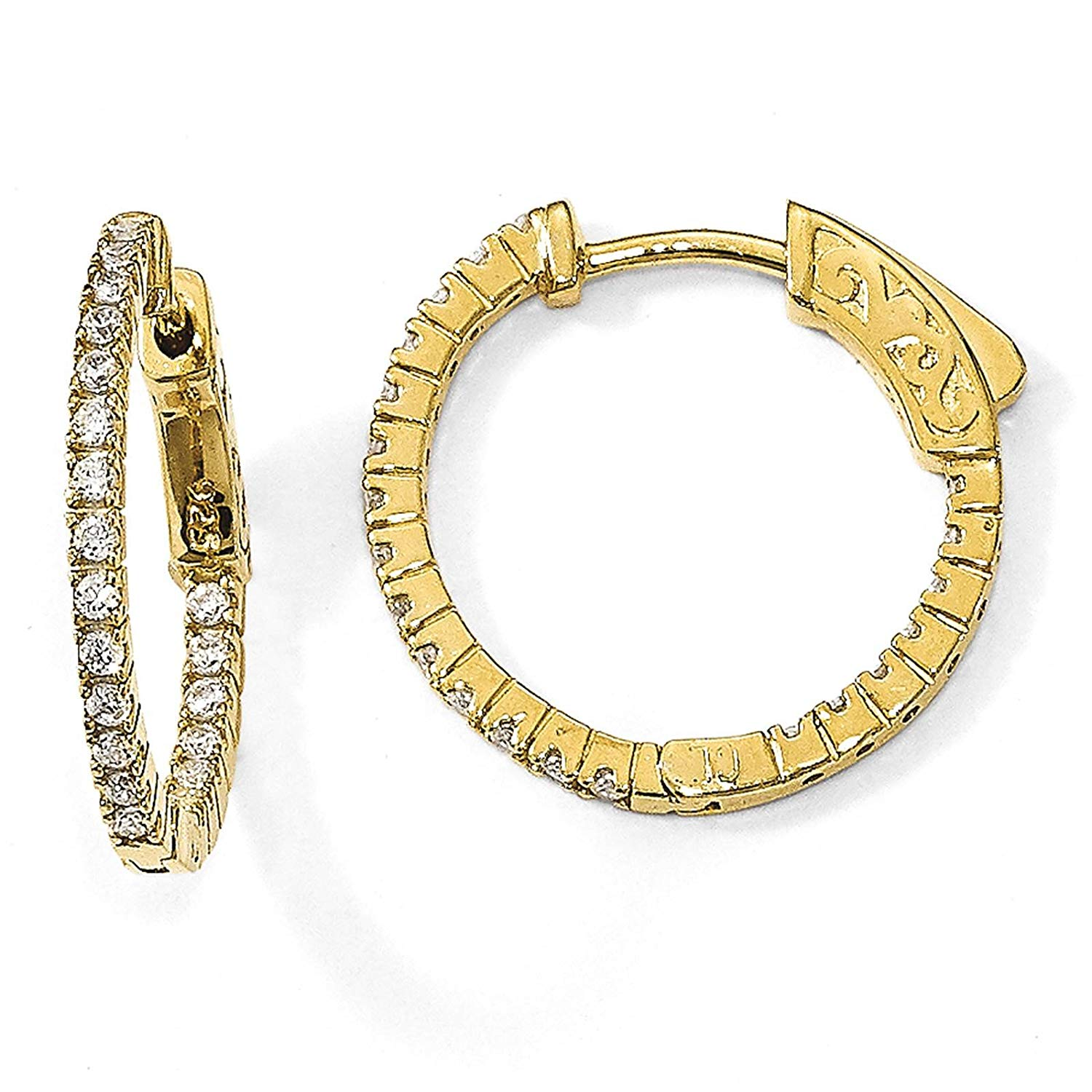 .925 Sterling Silver Gold-tone CZ In & Out Round Hoop Earrings 2mm x 18mm by Sterling Shimmer
