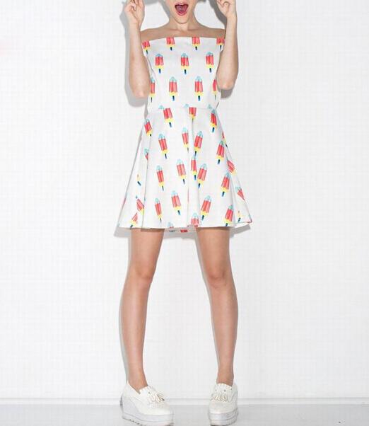 Платье воротник с открытой шеей mini открытые плечи, фреш женщины милый белый лето стиль мороженое принт платье