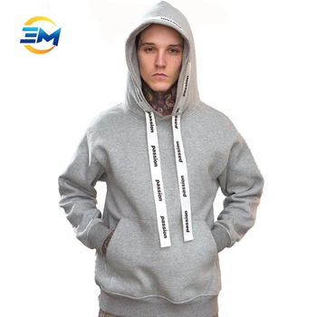 Classic grey cotton polyester mens hoodies with custom printing drawstring