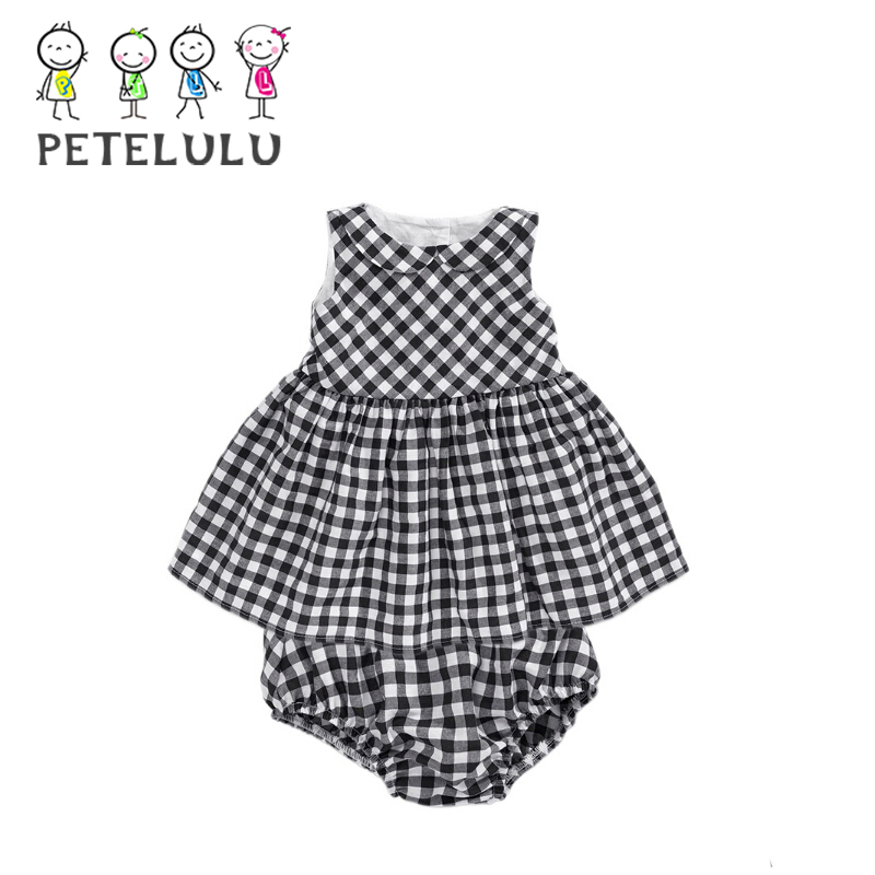Sleeveless Cotton Check Peter Pan Collar Girl Garment Wholesale Smock Baby Dresses