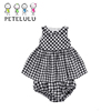 Sleeveless Cotton Check Peter Pan Collar Girl Garment Wholesale Smock Baby Dresses