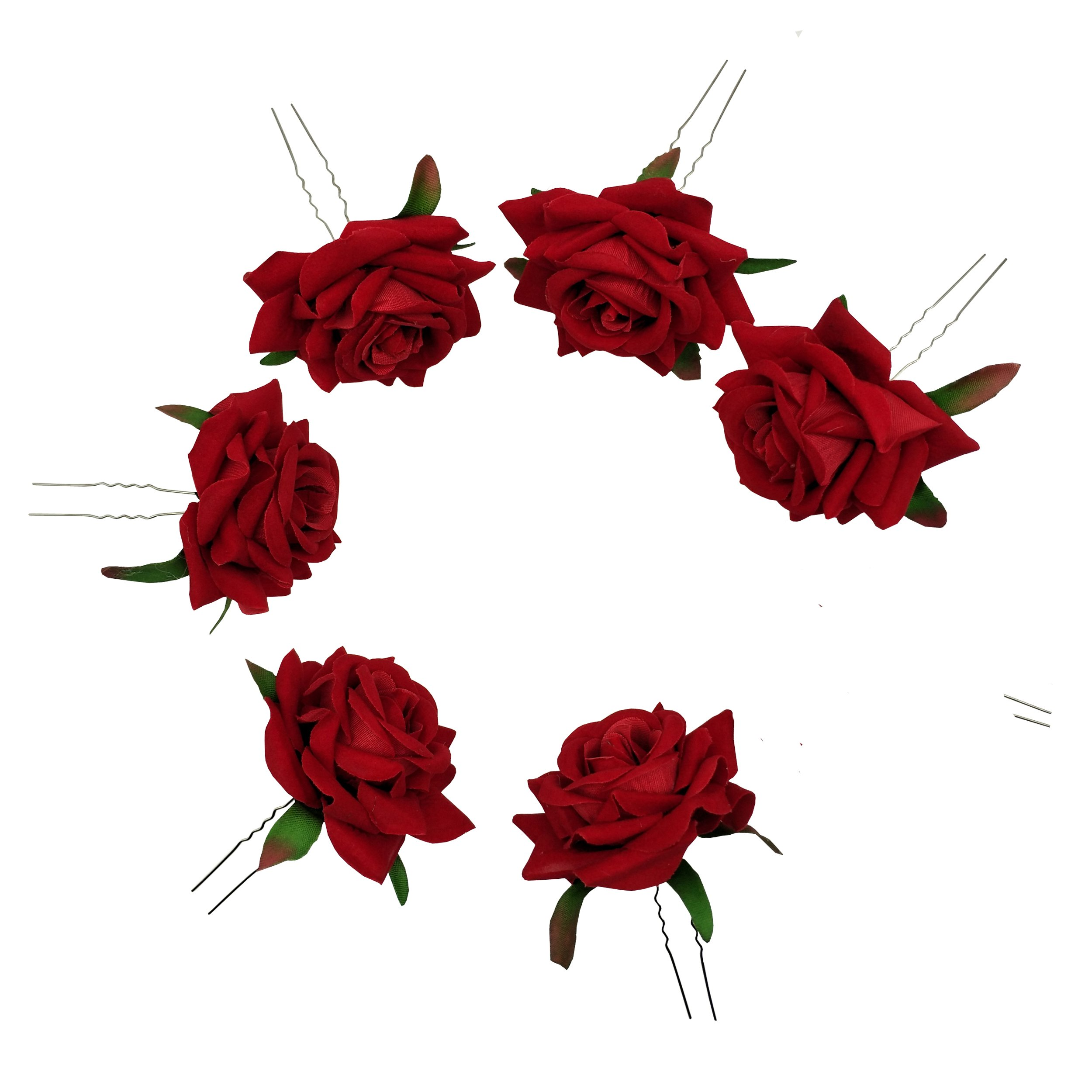 Sanrich 6pcs Rose Flower Hair Pins U Shaped Wedding Hair Clips Photo Shoot Flowers (red)