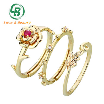 Best Valentine Gift Rose Shaped Ruby Ring Gold Wedding Stacking Ring Set