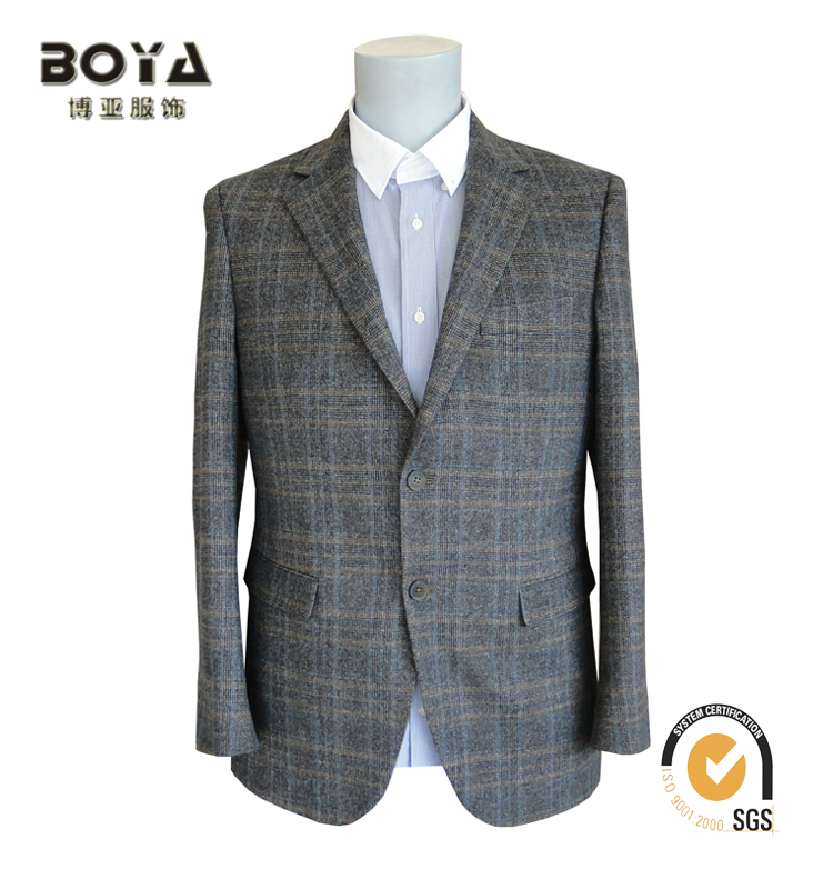 New design wool blend clothes regular fit casual suit for man with brown grid fabric