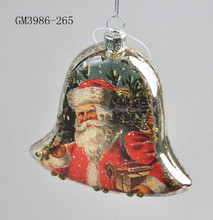 Hollow Mercury siver santa decal paper oblate christmas glass bell ornament