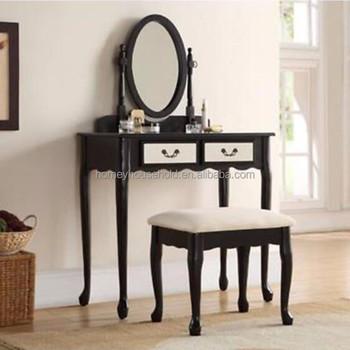 Cosmetique Moderne Tiroirs Noir Haute Brillance Mdf Coiffeuse Avec