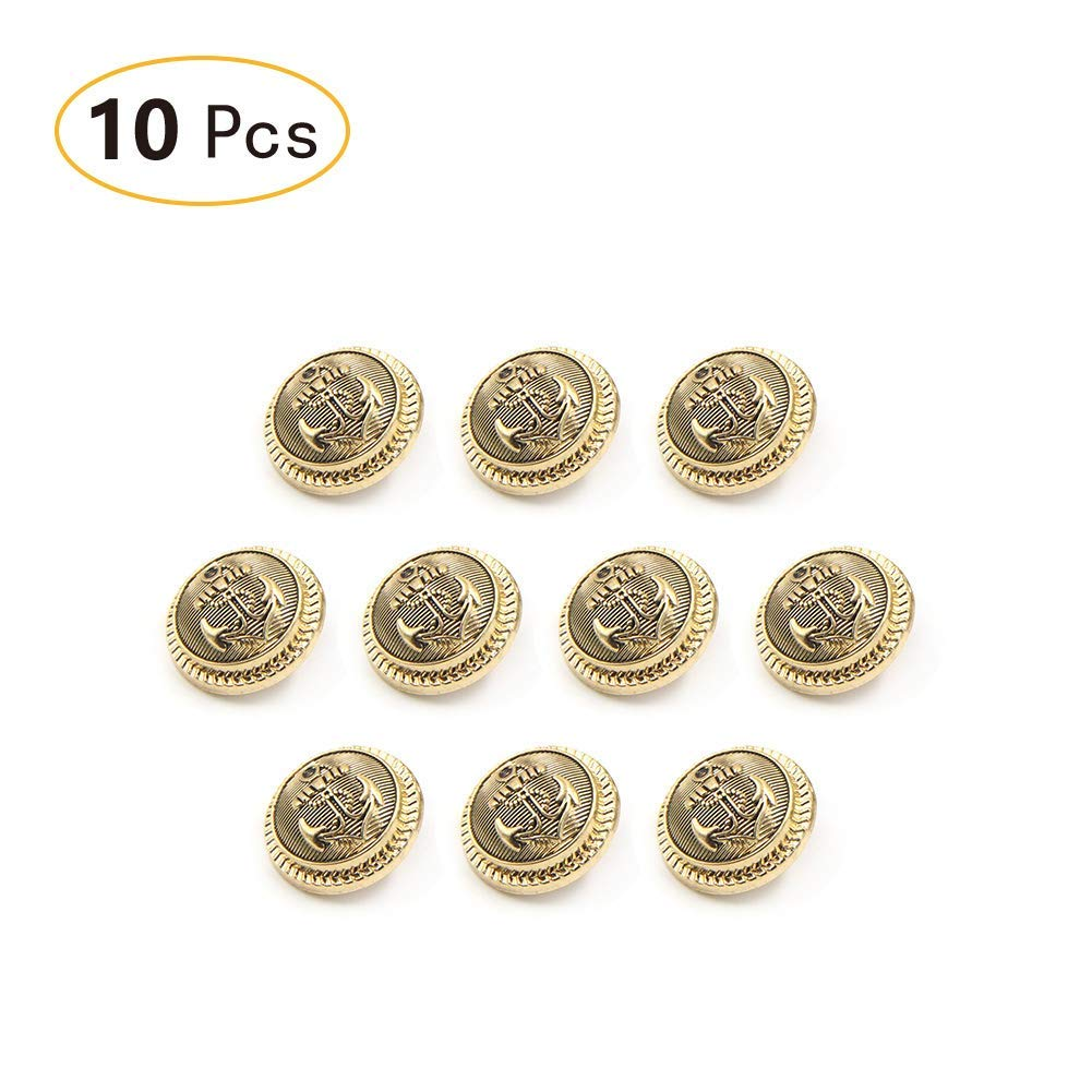 Tong Yue Antique Brass Metal Shank Buttons with Anchor Sewing Decorative Buttons Gold Buckle Pack of 10