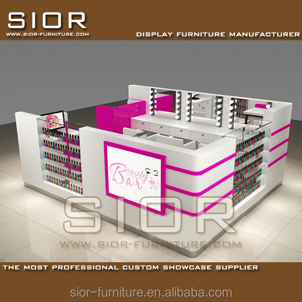 3D Nail Beauty Kiosk Interior Design ,Manicure Table Nail Salon Kiosk Display And Mall Cosmetic Kiosk Furniture With LED Lights