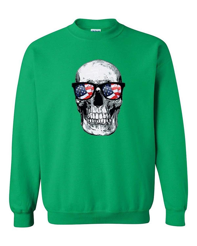 2bb59af9733 Get Quotations · Custom Apparel R Us Skull American Flag Sunglasses Patriotic  Mens Womens Crewneck Sweatshirt