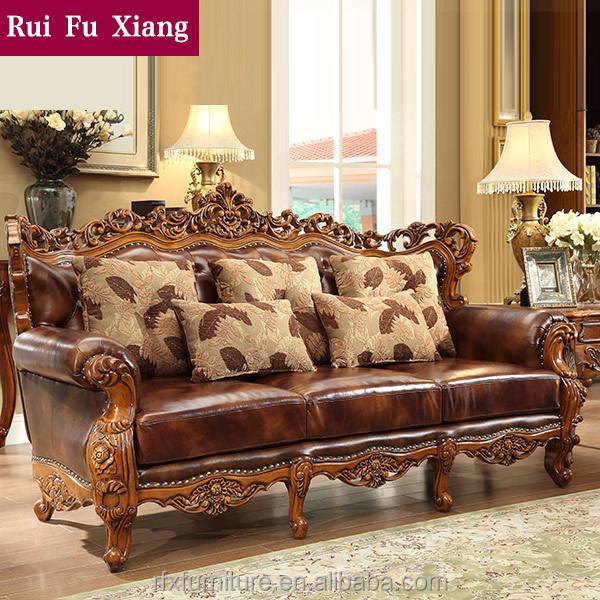 caoutchouc bois massif salon canap en cuir set pour amricaine meubles de archaize - Salon En Bois Massif Cuire