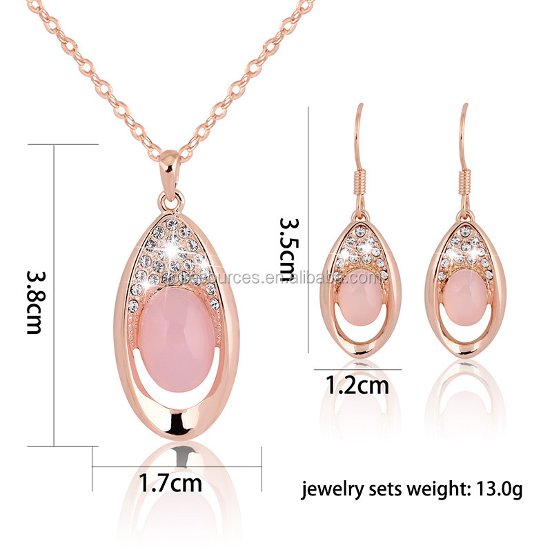 2016 wholesale pink stone crystal shining beauty women necklace earring jewelry set