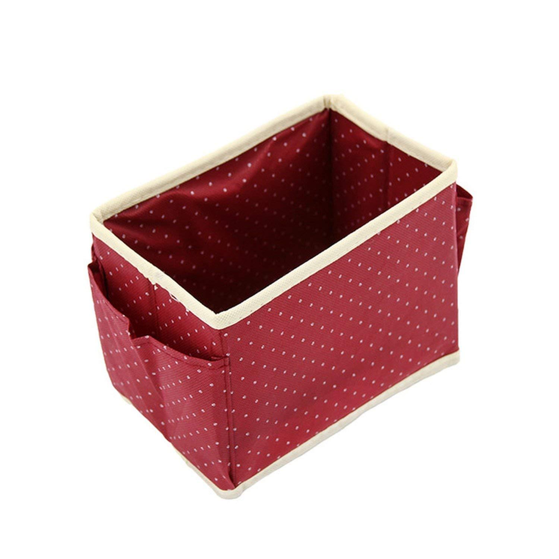 Baolustre Cute Dots Desktop Cosmetic Organizer Makeup Storage Boxes Bins Non-Woven Wash Accessories Boxes,Wine