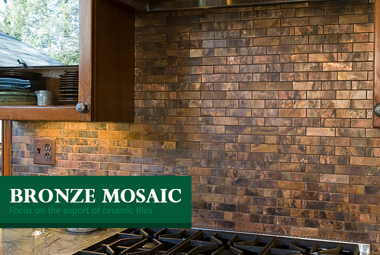Luxury kitchen wall backsplash mosaic tiles metallic bronze mix copper bronze metal penny wall tile round mosaic