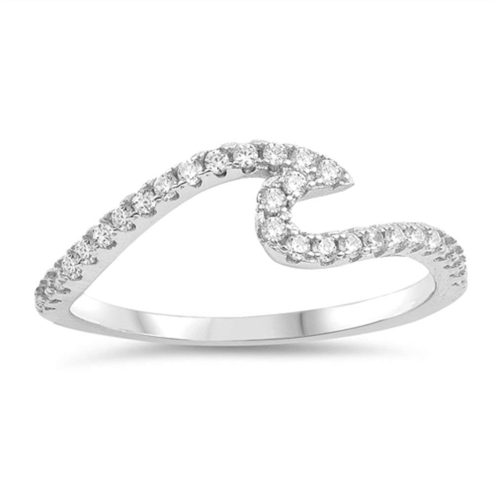 CloseoutWarehouse Black and Clear Cubic Zirconia Waeve Ring Sterling Silver