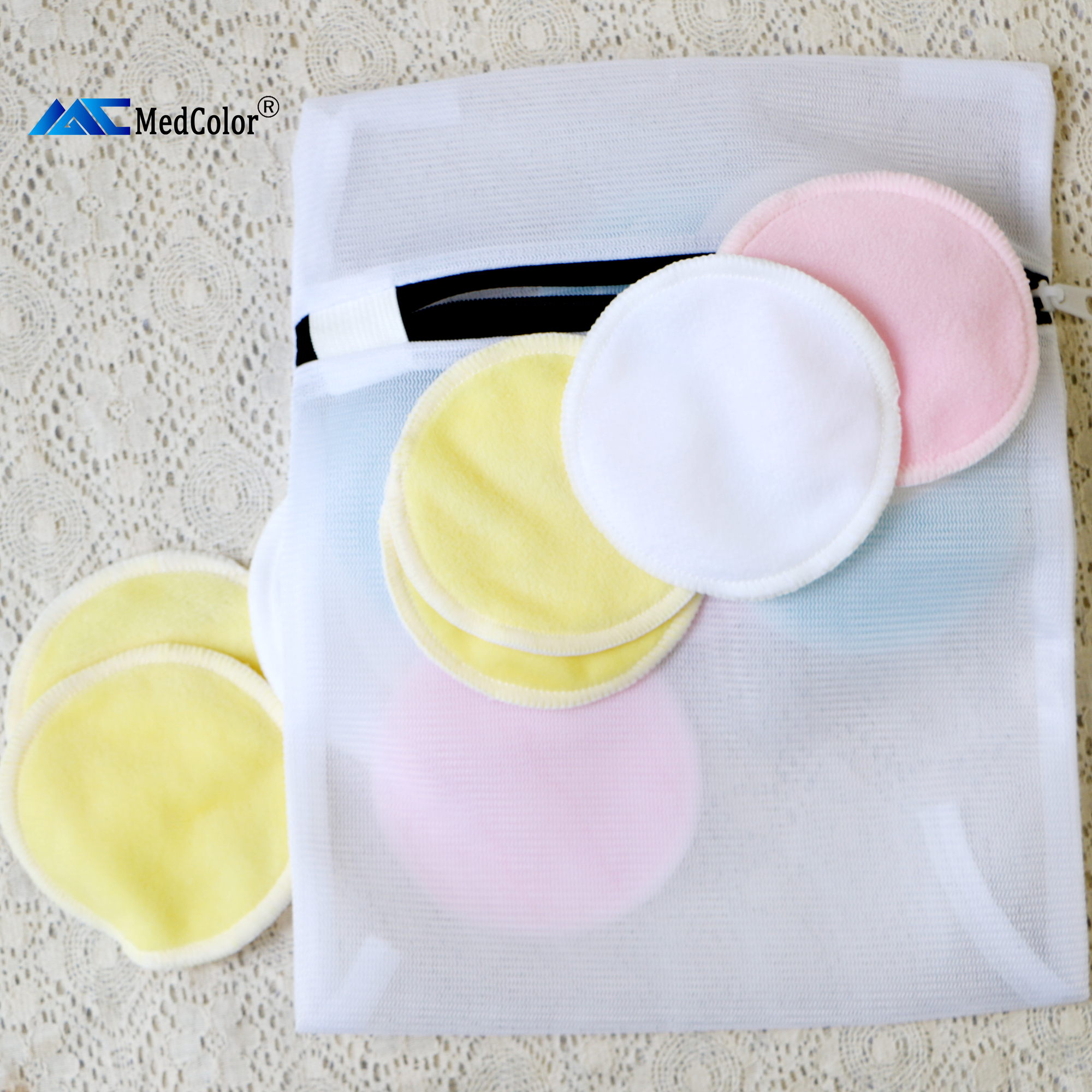 Hoge kwaliteit ronde bamboe katoen herbruikbare make-up remover pad wasbare facial cleaning pad