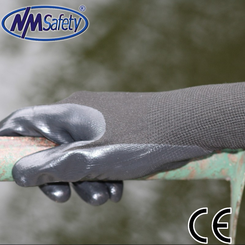 Nmsafety 13gauge knitted liner coated black nitrile palm light industry safety <strong>gloves</strong>