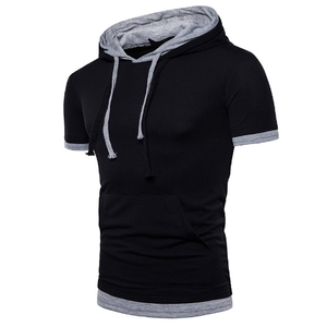 Wholesale top quality Men's summer Fashion large size short sleeve hooded T-shirt