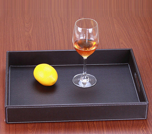 Pu Leather Professional Hotel Bathroom Amenities Serving Trays