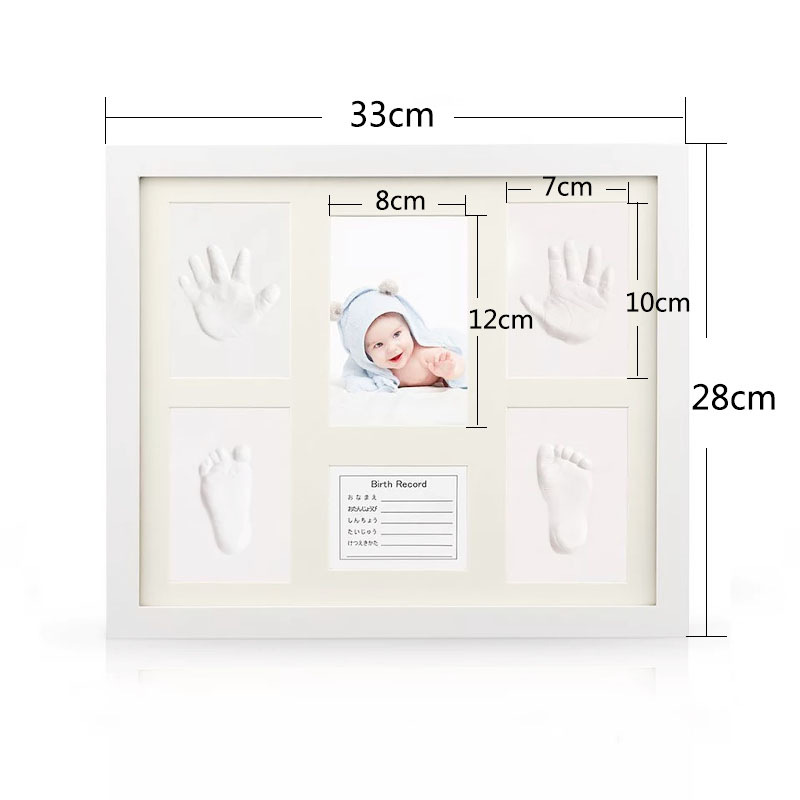 2019 Hot sale custom OEM baby boy girl handprint baby print wooden photo frame with clock for home decor
