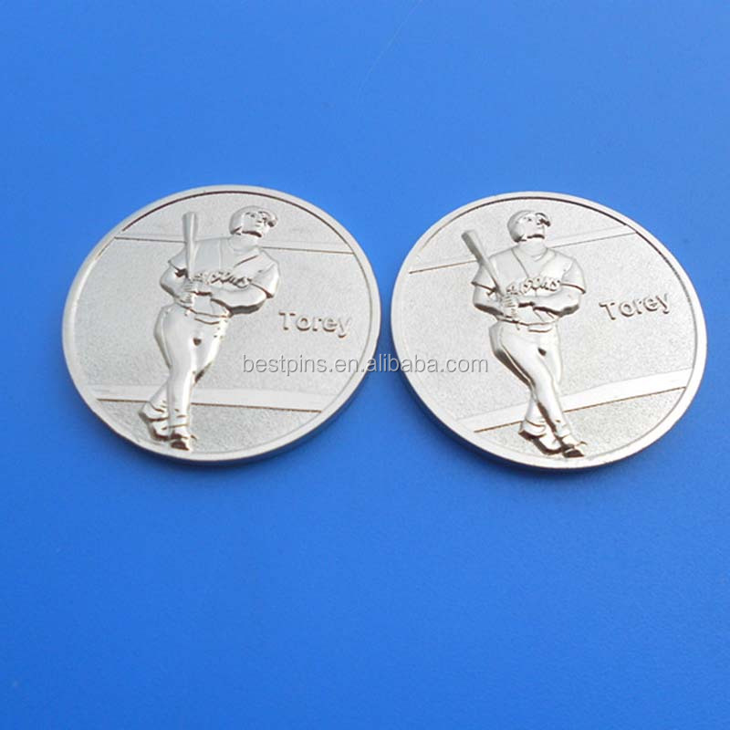anniversary award man blank silver coin for promotion