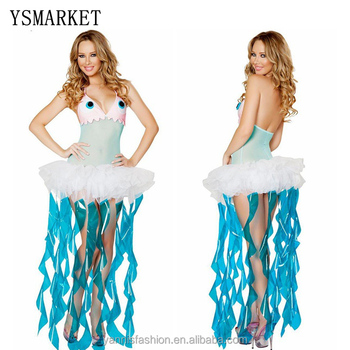 adult halloween costumes for women ocean jellyfish cosplay costume for girls sexy fancy dress game clothes