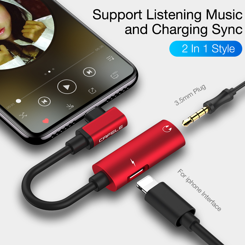 New Products 2in1  audio earphone Adapter Cable Splitter Charging Converter audio adapter cable for iPhone 7 8 X  Earphone