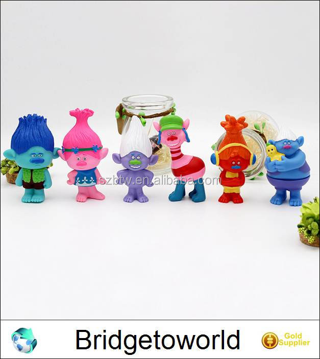 6 pcs Dreamworks Movie Figure Collectible Dolls Trolls Poppy Trolls Kids Birthday Gift Children Funny Toys
